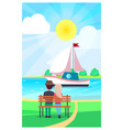 couple relaxing on wooden bench and watching yacht vector image vector image