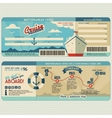 Cruise ship boarding pass design template vector image vector image