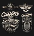 custom motorcycle vintage labels set vector image vector image