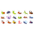 cute cartoon insects funny little insect vector image