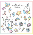 cute colorful patches with cats unicorn vector image