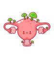 Cute happy funny woman uterus organ with fungus