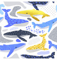 cute whales seamless pattern childish background vector image vector image