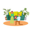 family concept with young couple angry wife after vector image