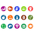 foods and restaurant round button icons set vector image
