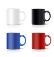 four mugs of various colors coffee cups vector image