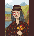 gioconda in a modern graphic style wearing red vector image vector image