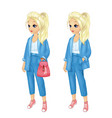 girl in stylish blue jacket and pants vector image