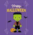 halloween poster frankestein costume vector image vector image