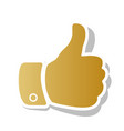 hand sign golden gradient vector image