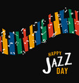 happy jazz day colorful piano keys vector image vector image