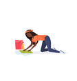 housewife washing floor on knees african american vector image vector image