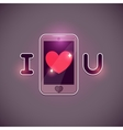 I love u inscription with smartphone icon vector image vector image