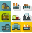 Industrial complex icons set flat style vector image vector image