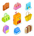 isometric bags ans suitcases vector image
