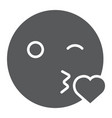 kiss smile glyph icon emoticon and expression vector image