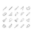 large set drawing and art icons vector image vector image