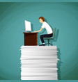 man sitting at the workplace on a pile of paper vector image