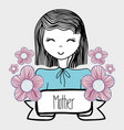 mother day woman with flowers and ribbon vector image vector image