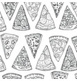pattern pizza slices hand drawing in doodle style vector image