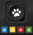 paw icon symbol Set of five colorful stylish vector image vector image