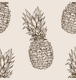 pineapple seamless pattern engraving vector image vector image