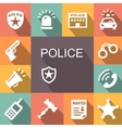 police icons set with shadow vector image vector image
