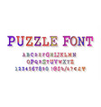 puzzle font jigsaw alphabet and numbers vector image