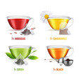 realistic tea brewing bag icon set vector image vector image