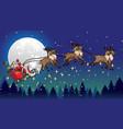 santa ride sleigh pulled by his reindeers vector image vector image