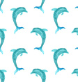 Seamless watercolour dolphin pattern vector image vector image