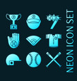 set baseball glowing neon style icons vector image vector image
