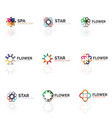 set of abstract flower or star minimalistic linear vector image