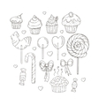 Set of Candy and Muffins Icons vector image vector image