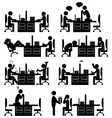 Set of office situation flat icons isolated on vector image