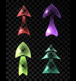 set of ransparent multicolored arrows vector image vector image
