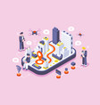 smart city on digital touch screen vector image vector image