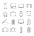 suitcase travel luggage icons set outline style vector image