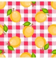 Tartan plaid with apricots seamless pattern vector image