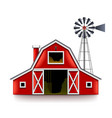 traditional american red farm house isolated