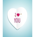 valentines day greeting card with white paper vector image vector image