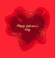 valentines day on layered red paper cut realistic vector image vector image