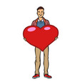 young man with valentine heart vector image vector image