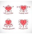 Graceful Floral Valentine Line Style Heart Set vector image