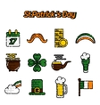 StPatricks Day flat icons set vector image