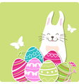 Decorative Easter card with rabbit and eggs vector image