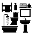 bathroom toilet black icons set black vector image vector image