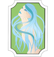 beautiful girl with long blue hair vector image vector image