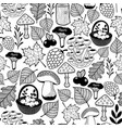 black and white seamless pattern with autumn vector image