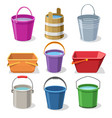 buckets and pails set vector image